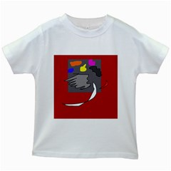 Red abstraction by Moma Kids White T-Shirts