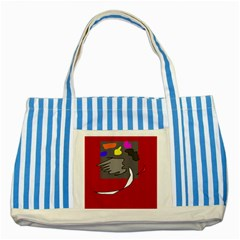 Red abstraction by Moma Striped Blue Tote Bag