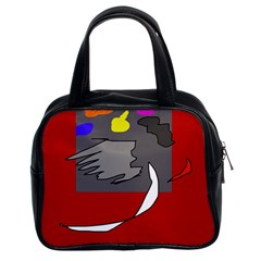 Red abstraction by Moma Classic Handbags (2 Sides)