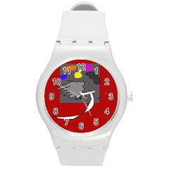Red abstraction by Moma Round Plastic Sport Watch (M)