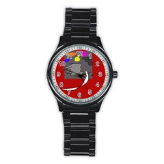 Red abstraction by Moma Stainless Steel Round Watch
