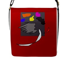 Red abstraction by Moma Flap Messenger Bag (L)