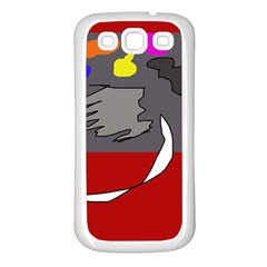 Red abstraction by Moma Samsung Galaxy S3 Back Case (White)