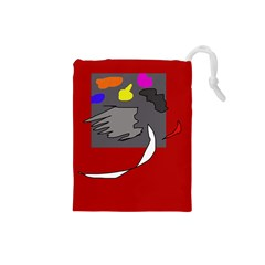 Red abstraction by Moma Drawstring Pouches (Small)