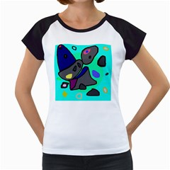 Blue comic abstract Women s Cap Sleeve T