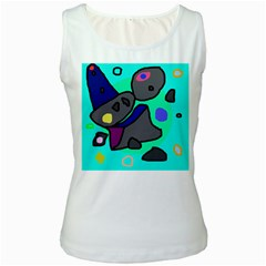 Blue comic abstract Women s White Tank Top