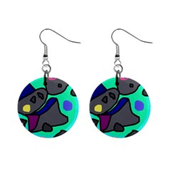 Blue comic abstract Mini Button Earrings