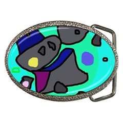 Blue comic abstract Belt Buckles