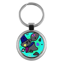 Blue comic abstract Key Chains (Round)