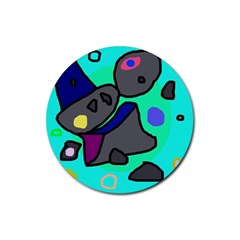 Blue comic abstract Rubber Coaster (Round)