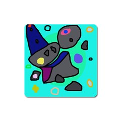 Blue comic abstract Square Magnet