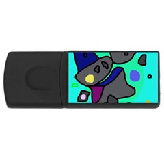 Blue comic abstract USB Flash Drive Rectangular (2 GB)