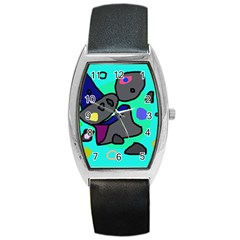Blue comic abstract Barrel Style Metal Watch