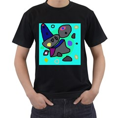 Blue comic abstract Men s T-Shirt (Black) (Two Sided)