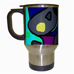Blue comic abstract Travel Mugs (White)