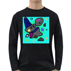 Blue comic abstract Long Sleeve Dark T-Shirts