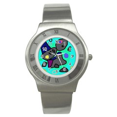 Blue comic abstract Stainless Steel Watch
