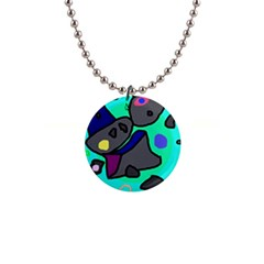 Blue comic abstract Button Necklaces