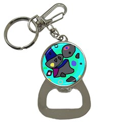 Blue comic abstract Bottle Opener Key Chains