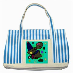 Blue comic abstract Striped Blue Tote Bag