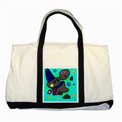 Blue comic abstract Two Tone Tote Bag