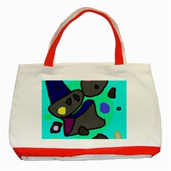 Blue comic abstract Classic Tote Bag (Red)
