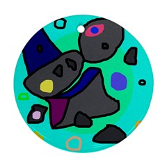 Blue comic abstract Round Ornament (Two Sides)