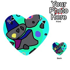 Blue comic abstract Playing Cards 54 (Heart)