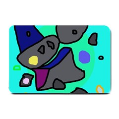 Blue comic abstract Small Doormat