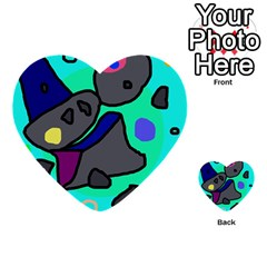 Blue comic abstract Multi-purpose Cards (Heart)