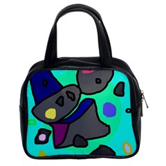 Blue comic abstract Classic Handbags (2 Sides)