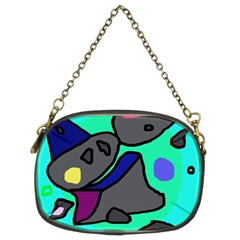Blue comic abstract Chain Purses (Two Sides)