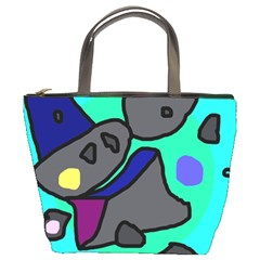 Blue comic abstract Bucket Bags