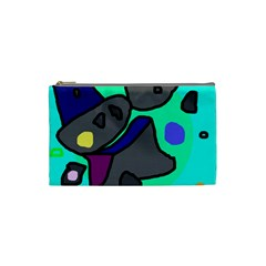 Blue comic abstract Cosmetic Bag (Small)