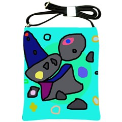 Blue comic abstract Shoulder Sling Bags