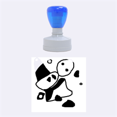 Blue comic abstract Rubber Round Stamps (Medium)