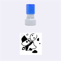 Blue comic abstract Rubber Round Stamps (Small)
