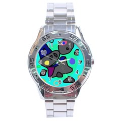 Blue comic abstract Stainless Steel Analogue Watch
