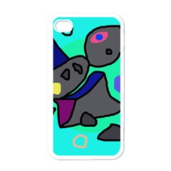Blue comic abstract Apple iPhone 4 Case (White)