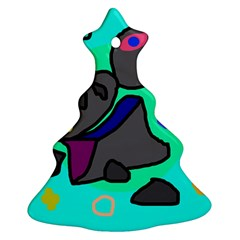 Blue comic abstract Christmas Tree Ornament (2 Sides)