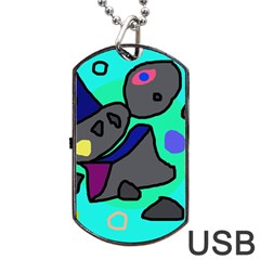 Blue comic abstract Dog Tag USB Flash (One Side)