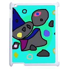 Blue comic abstract Apple iPad 2 Case (White)