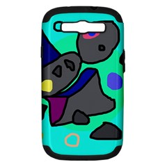 Blue comic abstract Samsung Galaxy S III Hardshell Case (PC+Silicone)