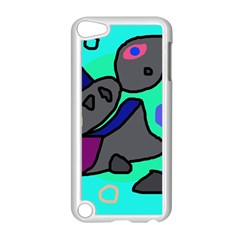 Blue comic abstract Apple iPod Touch 5 Case (White)
