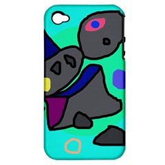 Blue comic abstract Apple iPhone 4/4S Hardshell Case (PC+Silicone)