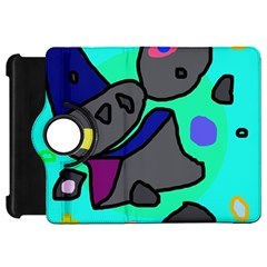 Blue comic abstract Kindle Fire HD Flip 360 Case