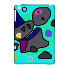 Blue comic abstract Apple iPad Mini Hardshell Case (Compatible with Smart Cover)