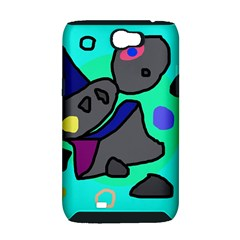 Blue comic abstract Samsung Galaxy Note 2 Hardshell Case (PC+Silicone)