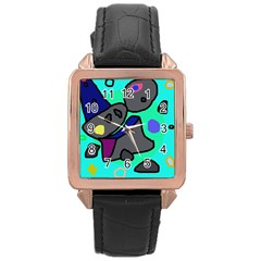 Blue comic abstract Rose Gold Leather Watch