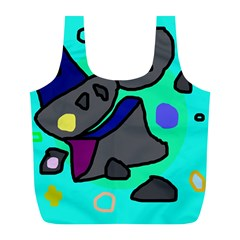 Blue comic abstract Full Print Recycle Bags (L)